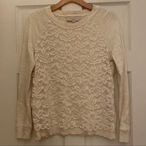 LOFT Cream/Off-White Lace Sweatshirt SP